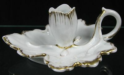 Antique Early 19th C Porcelain Maple Leaf Candle Holder