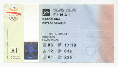 Orig.Ticket   Olympic Games BARCELONA 1992  -  Athletics 06.08. with 5 Final`s !