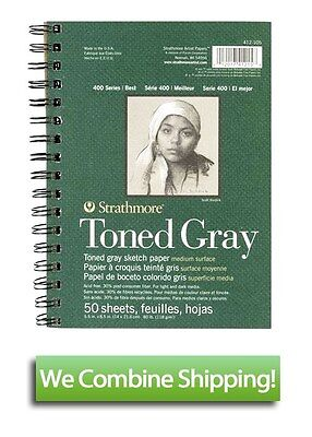 "Strathmore 400 Toned Gray Sketch Book 5.5""x8.5"" 50 Sheet 80lbs"