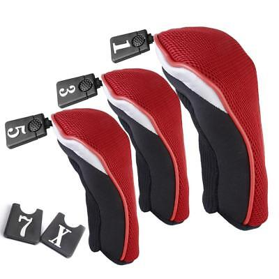3x Black Red Golf Club Head Covers For TaylorMade Fairway Wood Hybrid Driver