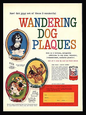 "Original 1959 ""dash Dog Food"" Humorous Wandering Dog Plaques-Print Ad-Unique!"