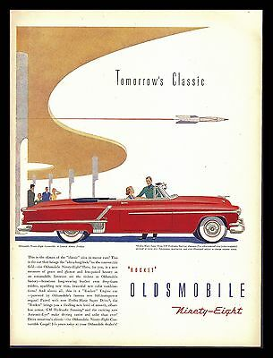 "Original 1952 ""oldsmobile 98 Convertible"" Classic Car Art Print Ad"