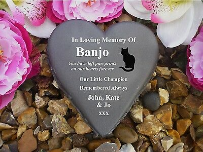 Cat Memorial - Floral Heart - Completely Weatherproof & Personalised BLACK CAT