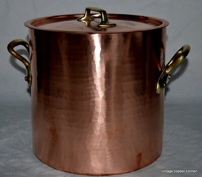 French vintage copper marmite mauviel stockpot faitout pan chef cook 10ltr