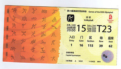 Orig.Ticket    Olympic Games BEIJING 2008 // VOLLEYBALL - 15.08.  !!  VERY RARE