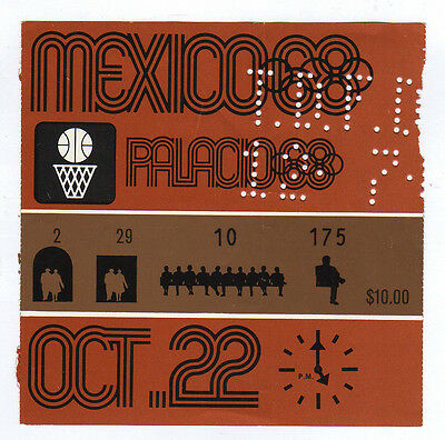 Orig.Ticket   Olympic Games Mexico 1968  -  BASKETBALL 22.10.1968  !!   RARE