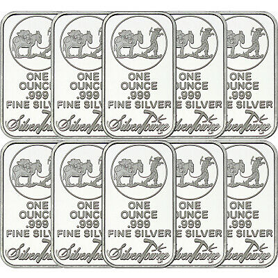 SilverTowne Logo 1 oz .999 Fine Silver Bar LOT OF 10