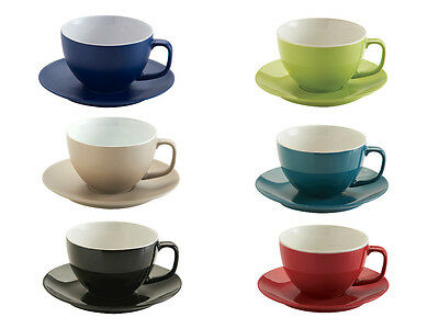 Cappuccino cup & saucer 8 colours available Red Taupe Lime Black Teal Navy cups