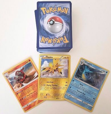 50 POKEMON CARD LOT - COMMONS/UNCOMMONS WITH 5 HOLOS AND 5 RARES + BONUS!!