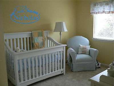 Boys Name and Teddy Bear Sign Wall Decal Sticker Wall Art Words and Phrases