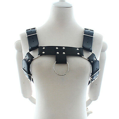 Black Mens PU Leather Chest Bodysuit Harness Gay Interest Club Wear Sexy Costume