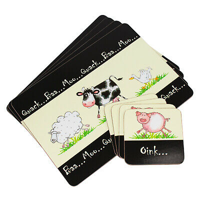 Set of 4 Home Farm Placemats & Coasters Black & Cream Dinner Table Setting Mats
