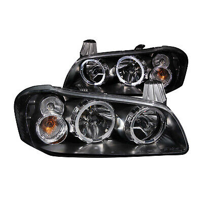 ANZO 121113 Set of 2 Black Halo Projector Headlights for 02-03 Nissan Maxima