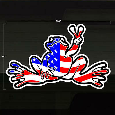 """Frog USA American Peace LARGE Decal Sticker 17x11"""" United States of America Flag"""