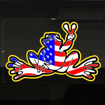 """Frog USA American Flag LG Decal Sticker 17x11"""" Freedom United States US Froggy"""