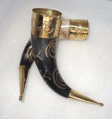 Pair of Designer brass adorned Viking Drinking Horn for ale beer wine mead pagan