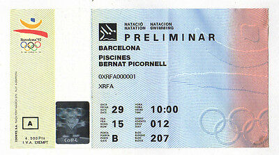 Orig.Ticket   Olympic Games BARCELONA 1992  -  SWIMMING