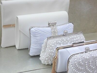 White Diamante Crystal Satin Bridal Wedding Prom Purse Clutch Handbag Bag UK