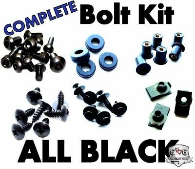 Complete Black Fairing Bolt Kit Body Screws Fasteners for 03-06 Honda CBR 600 RR