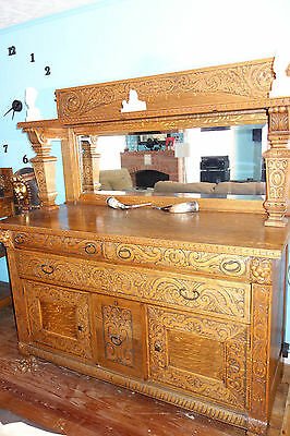Antique Tiger Oak Dining Buffet and Serving Table Set Hand Ornate Highly Carved