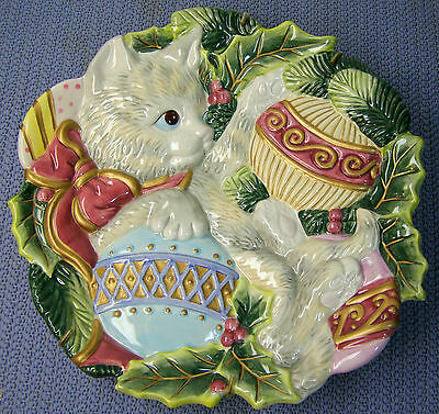 Fitz & Floyd CHRISTMAS White Persian CAT Plate Signed Holiday Plate Cat Lover