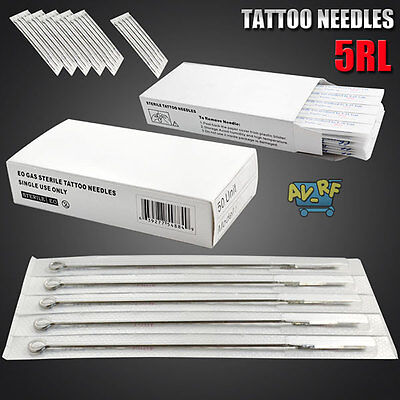 50PCS Disposable Tattoo Sterile 5RL Round Liner Machine Tips Needles Supply