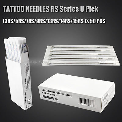 50pcs Tattoo Sterile RS 8 Size Round Shader Needles Supplies Stainless Steel New