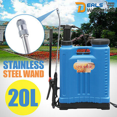 20L Backpack Pressure Water Sprayer Stainless Steel Wand Chemical Weeds Killer