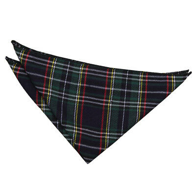 DQT Woven Tartan Plaid Thin Stripes Black Green Handkerchief Hanky Pocket Square
