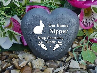 Rabbit Memorial Heart - Stone Effect - Personalised & Weatherproof Carrot 2