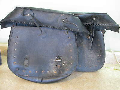 WORN OUT SADDLEBAGS Vintage Motorcycle Luggage MAN CAVE DECOR Black Leather