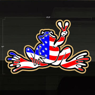 """Frog USA United States of America Sticker 17x11"""" Flag Decal Graphic Froggie Toad"""
