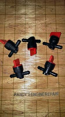 "5 pack 1/4"" In-Line Straight Fuel Gas Cut-OFF SHUT-OFF VALVES Petcock Motorcycle"