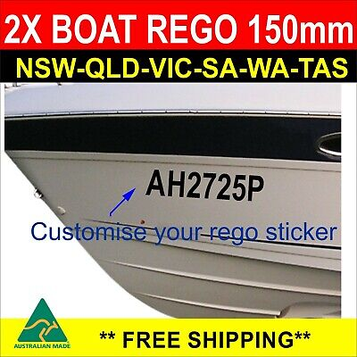 Boat Rego Sticker Customise registration Number 150mm High Cast Vinyl Decal 2Pcs