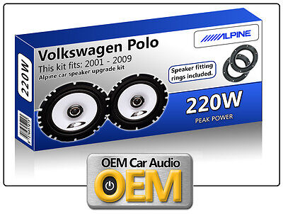 VW Polo Front Door speakers Alpine car speaker kit with Fitting Rings 220W Max