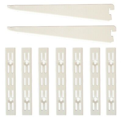 Twin Slot Shelving System White 10 Pack of Support Uprights, Brackets & Bookends