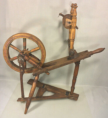 Antique Diminutive Spinning Wheel with Whorl Paddle Wheel & Connector Wood Pins
