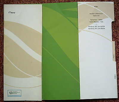 Orig.Menu card for VIP Guest`s  World Cup Germany 2006  CZECH REPUBLIK - ITALY !