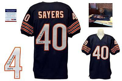 Gale Sayers SIGNED Navy Jersey - PSA/DNA ITP - Chicago Bears Autograph HOF 77