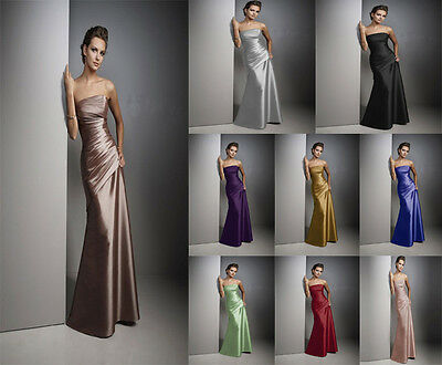 Long Satin Formal Prom/Bridesmaid Cocktail Party Evening Dress Size 4-18 New