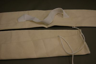 Traditional Longbow bag, white with tie end and handle