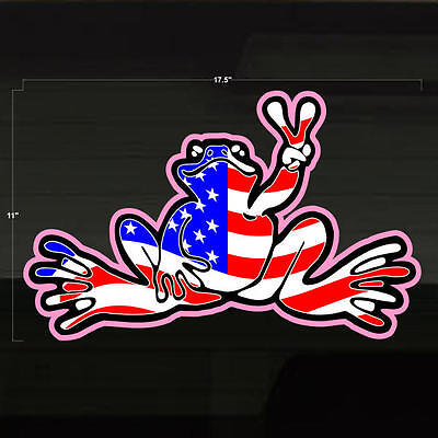 """Frog Froggy USA America Peace LG 17x11"""" Decal Sticker Graphic United States Flag"""