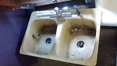 Old Vintage Retro Kohler Porcelain Cast Iron Double Bowl Drop In Sink