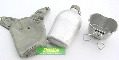 Genuine Lightly Used France French Army Water Bottle & Cup Set