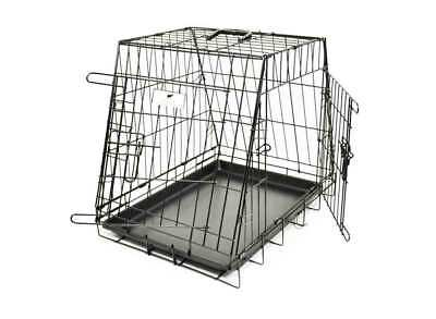 2 Door Metal Dog Car Crate, Folding Cage For Safe Pet Travel, Choice of Sizes
