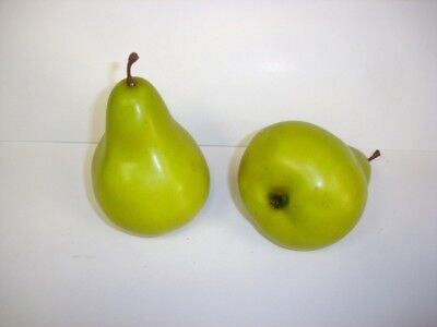 Pack x2 Artificial Fruit Green Pear 80mm Very Realistic