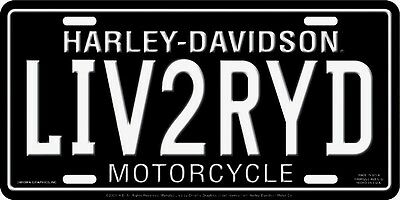 Harley Davidson Live To Ride Embossed Metal Vanity Car License Plate Auto Tag