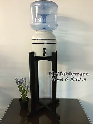 Porcelain Ceramic Water Dispenser Black Stripes and Black Wood Floor Stand