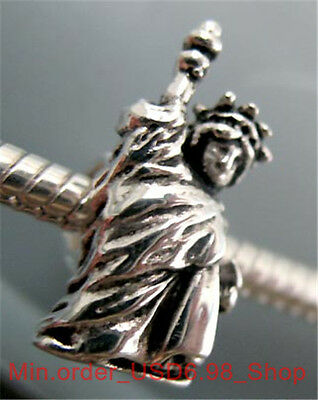 Authenitic Silver 3D Statue of Liberty Bead Fit All Brand Charm Bracelet AU27