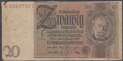 (T14-116) 1929 Germany 20 Reich marks banknote